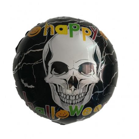 Happy Halloween folieballong med dödskalletryck