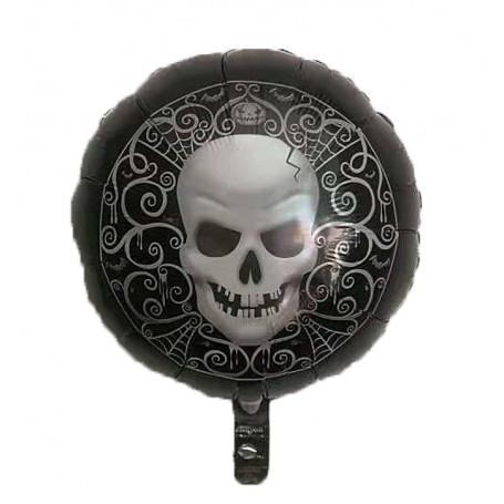 Rund folieballong med tryckt Dödskalle