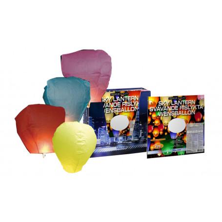 svävande rislyktor i färgerna gul, blå, rosa och röd
