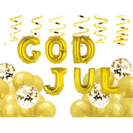 God Jul ballongbuketter- guld