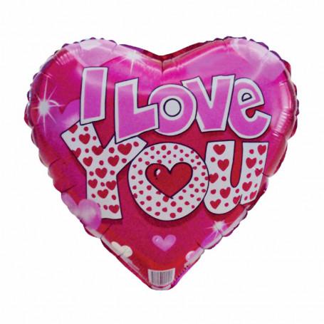 Hjärtfolieballong text I love You röd bakgrund