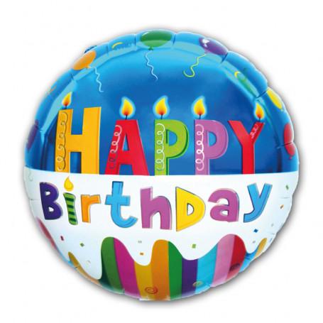 Happy Birthday folieballong blå/vit bakgrund