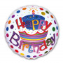 Folieballong Happy Birthday vit bakgrund 45 cm