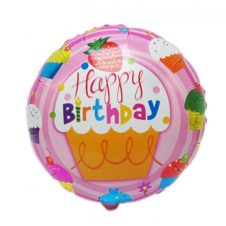 Ballong Happy Birthday rosa bakgrund 45 cm