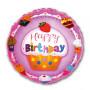 Rosa färgad bakgrund Happy Birthday ballong 45 cm