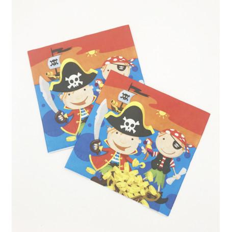 Servett med barn som är utklädda till pirater.