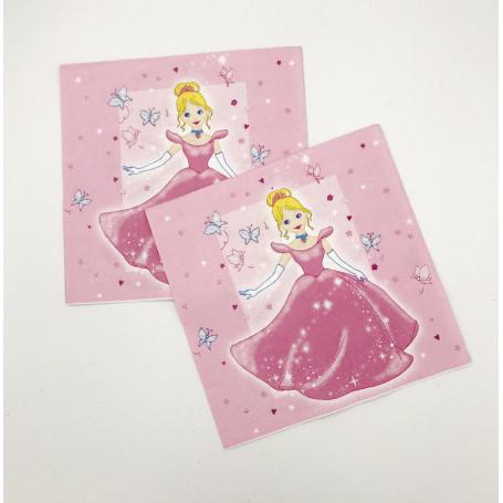 En rosa servett i papper med en prinsessa på framsidan som har en rosa klänning.