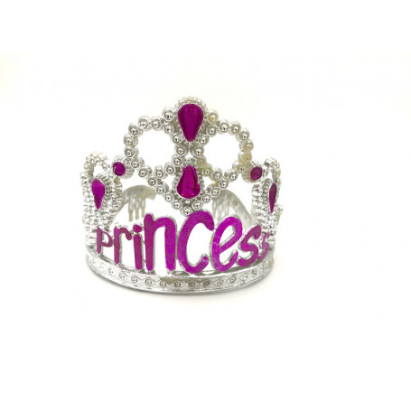 Silvrig tiara med texten Princess i rosa