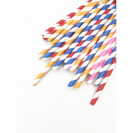 Färgglada, randiga papperssugrör. Kommer i blandade färger.