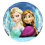 Blåaktig tallrik med Prinsessorna Elsa och Anna från filmen Frost (frozen)