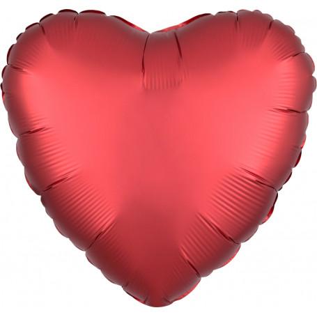 Hjärtformad folieballong Chrome Röd