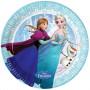 Ljusblå tallrik med Elsa och Anna som åker skridskor, från filmen Frost (frozen).