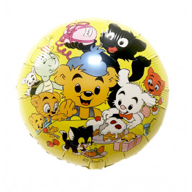 Heliumballong med Bamse, Lilleskutt, Skalman och Katten Jansson.