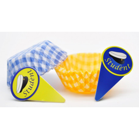 CUPCAKE EXAMEN Fina muffinsformar i blågult  studentfirande midsommar  student flaggor