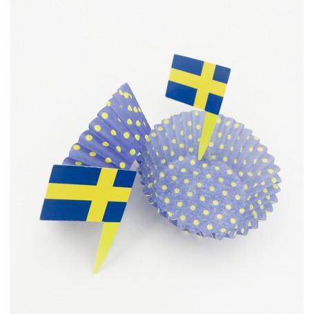 Muffinsformar med Svenska flaggan muffinsformar i blågult studentfirande midsommar