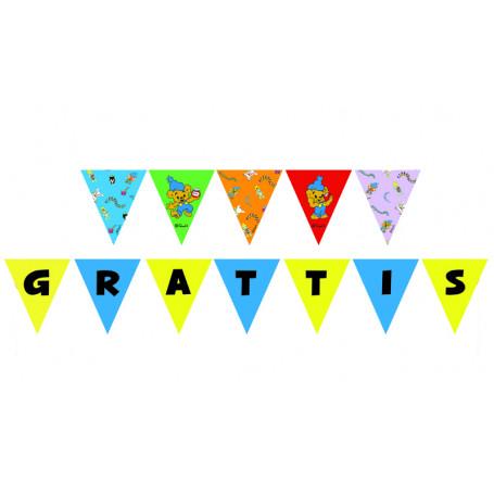 """Girlang med motiv av Bamse och texten """"GRATTIS"""""""