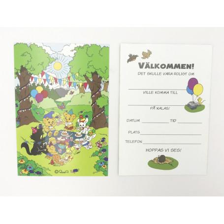 Bamse inbjudningskort med Bamse och hans vänner på kalas i skogen.