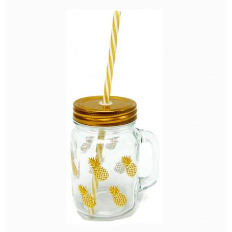 Sugrörsglas ananas med guld lock