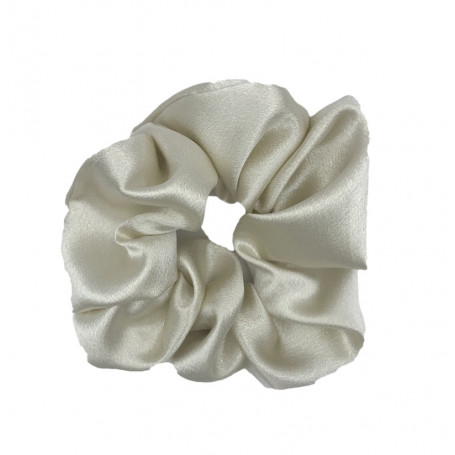 Stor scrunchie i satin vit