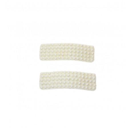 Rektangulära hårspännen med pärlor - 2P
