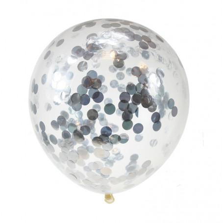 Konfettiballonger silver 4 P