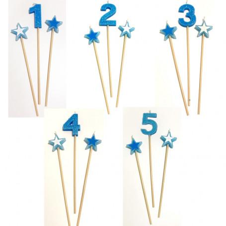 Blått sifferljus med stjärnor Nr 1-5