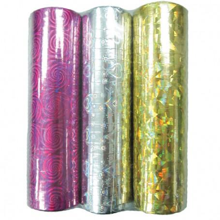 Serpentin Laser Cerise-Silver-Guld 3-pack