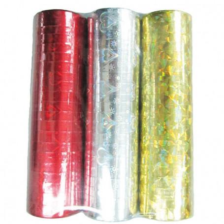 Serpentin Laser röd-silver-guld 3-pack