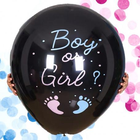 Svart gender reveal ballong med konfetti