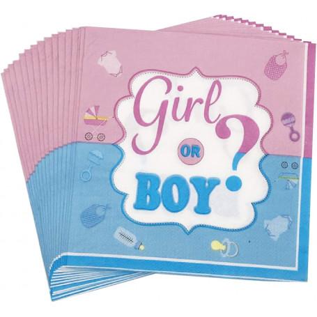 Girl or boy? Babyshower servetter 16P