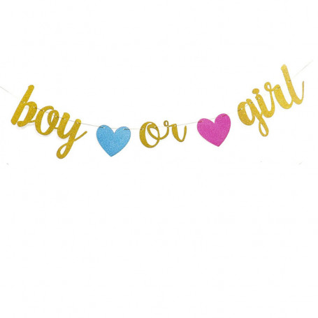 Boy or girl babyshower girlang i guld med glitter