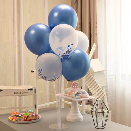Konfettiballong kit blå med ballongpinnar & ställning