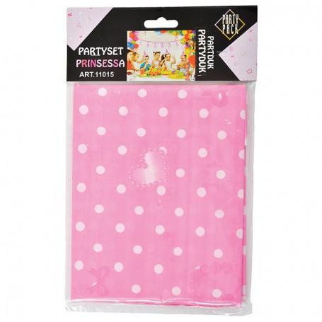 Rosa bordsduk i plast med vita prickar.