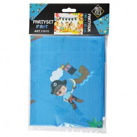 Blå bordsduk i plast med pirater och skepp.