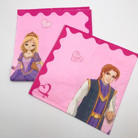 Rosa servett med tryck av en prinsessa och prins.