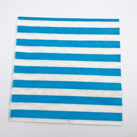 Blå och vitrandiga servetter i papper