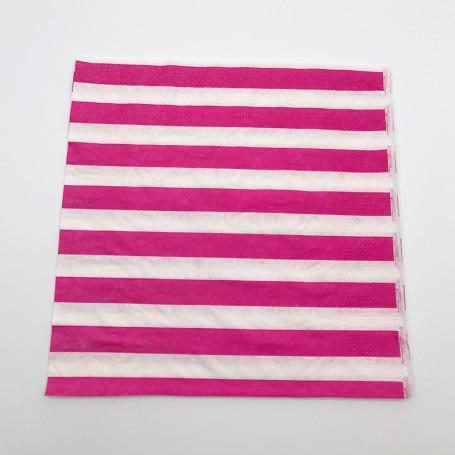 Rosa och vitrandiga servetter i papper.