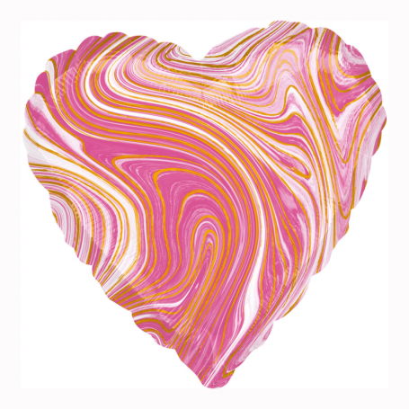 Marmorerad hjärta folieballong rosa