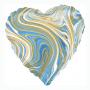 Marmorerad hjärta folieballong blå