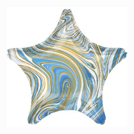 Marmorerad stjärna folieballong blå