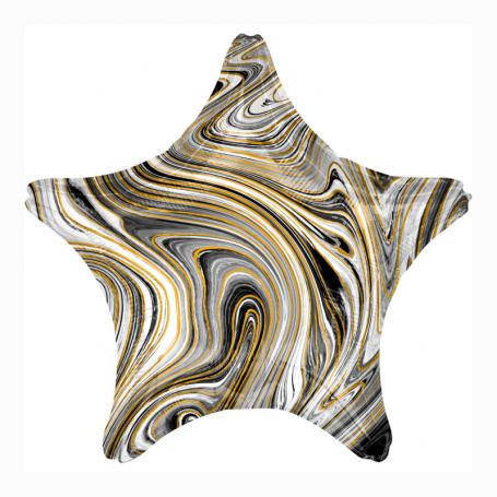 Marmorerad stjärna folieballong svart