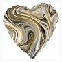 Marmorerad hjärta folieballong svart
