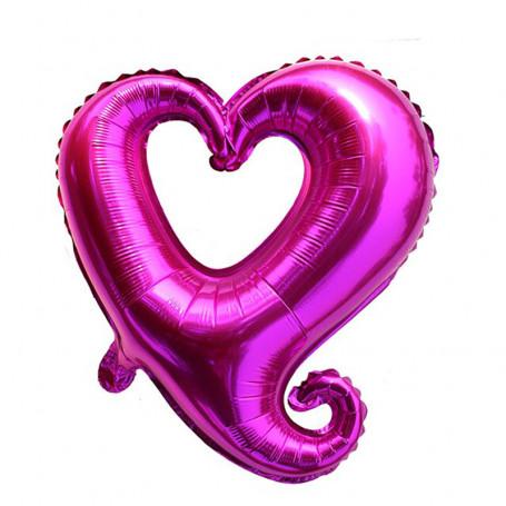 Ihåligt hjärta folieballong vinröd XL