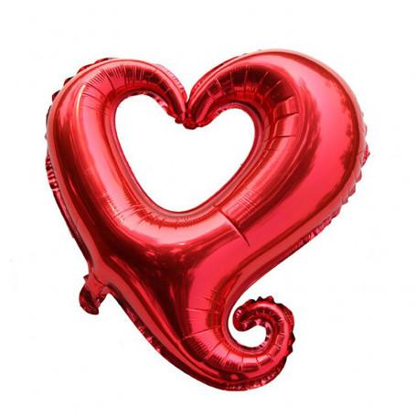 Ihåligt hjärta folieballong röd XL