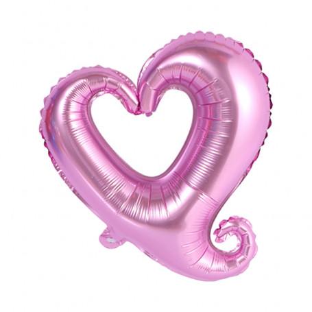 Ihåligt hjärta folieballong rosa XL
