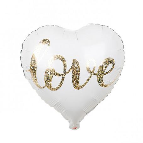 Folieballong hjärta vit med glitter text Love