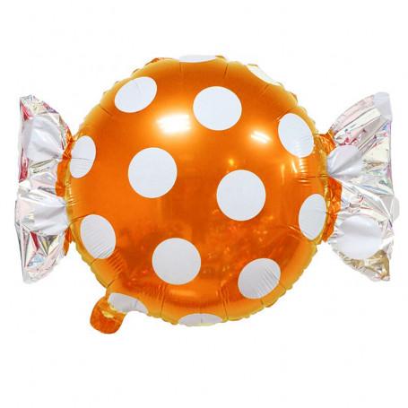 Godis ballong orange och vit prickig