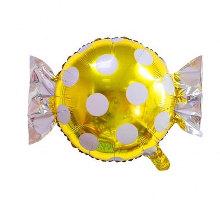 Godis ballong guld och vit prickig