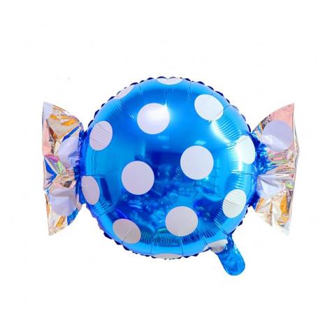 Godis ballong blå och vit prickig
