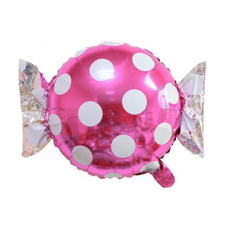 Godis ballong rosa och vit prickig